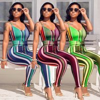 5ec113b29900 2018 Spaghetti Strap V-Neck Elegant Jumpsuit For Women Striped Bodysuit  Backless Sexy Rompers Sleeveless Club Playsuit Plus size