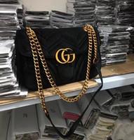 бесплатная подарочная сумка для макияжа оптовых-Free shiopping 2018 Новый подарок Мода черная цепь косметичка знаменитая вечеринка сумка Marmont бархатная сумка через плечо Женщины дизайн сумки