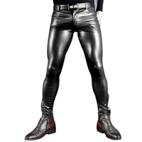 гомосексуалисты кожа оптовых-Sexy Men Faux Leather Pu Matte Shiny Fashion Pants Role Men X Soft Skinny Gay Pants Zipper Open Pencil Gay Wear FX130