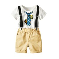 erkek askıları t-shirtler toptan satış-2018 Yaz Bebek Boys Giyim Seti Pamuk Karikatür T-shirt + Askı Şort 2 adet Çocuk Kıyafetler Boys Setleri W175