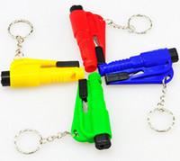 Wholesale Red Seating - 50PCS Mini Safety Hammer Emergency Escape 3 In 1 Glass Breaker Keychain Whistle Knife Bodyguard SOS Whistle Seat Belt Cutter Window Break