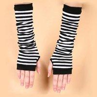 Dame Stretchy Striped Weiche Handgelenk Arm Warmer Lange Hülse Halb-finger Handschuhe Neue Bekleidung Zubehör Damen-accessoires