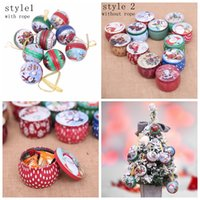 Wholesale case candy gift online - Christmas candy box wedding Decoration iron candy box Santa snowman ball candy case round tinplate gift box Party Favor GGA849