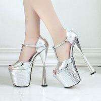 son derece seksi platform topuklu ayakkabı toptan satış-Ultra Yüksek Topuklu (20 cm) ile Platform Gece Kulübü Kadın Sandalet Seksi Kadın Ayakkabı Bling kadın Pompaları Parti Ayakkabı 34--43