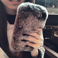 cajas del teléfono celular de piel al por mayor-Moda de lujo Rex Rabbit Hair Diamond Plush Fur Cell Phone Cases para iPhoneX 7plus Mobile Shell Apple 8 6s invierno caliente suave cubierta para las mujeres