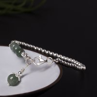 Wholesale green new jade beads - Green jade jewelry new s925 pure silver single circle bead hand string simple character silver pearl jade bracelet the jewelry wholesale