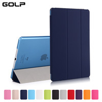 Wholesale transparent ipad air smart case - GOLP Case for iPad Air iPad 5, Solid Color PU Transparent Back Ultra Slim Light Weight Trifold Smart Cover Case for Air 1st
