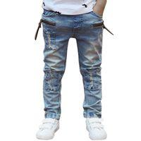 дизайнерские джинсы для мальчиков оптовых-Мальчики Джинсы Детские Брюки Джинсы Джинсы Ковбойские Дизайнеры Джинсы Мода Светлый Цвет Для Мальчика Повседневные Длинные Брюки