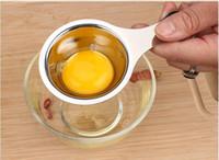 белый пластиковый держатель для яиц оптовых-Кухонные Принадлежности Высокое Качество Кулинария Инструменты Высокое Качество Яйцо Из Нержавеющей Стали Белый Желток Сепаратор Яйца Фильтр Желток Гаджеты