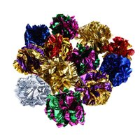 Wholesale aluminum mouse - 12pcs Cat Toy Mylar Balls Colorful Ring Paper Shiny Crinkly Balls for Cats Kitten Sound Toys Pet Products 12pcs Cat Toy Mylar