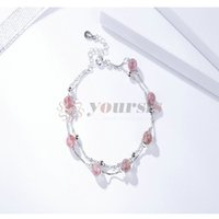 basket necklace jewelry Australia - Yoursfs 925 sterling silver Jewelry Korean version fashion simple platinum-plated strawberry crystal pink, basket-color ear hook, bracelet