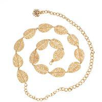 Wholesale gold chain sales online - Leaf Flower Decor Metal Waist Chain Fashion Narrow Waistband Full Dress Women Belt Factory Direct Sale hj B