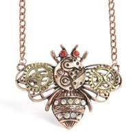 Wholesale gold bee necklace - Vintage Metal Bee Necklace Men Steampunk Gear Butterfly Owl Pendant Necklaces Heart-Shaped Mechanical Gear Necklace For Male Gift