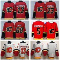 Wholesale flame numbers - Calgary Flames James Neal Jerseys Hockey Custom Name Number 5 Mark Giordano 13 Johnny Gaudreau 23 Sean Monahan 68 Jaromir Jagr Red White Men