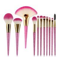 цветочные щетки для макияжа оптовых-Сакура цветок розовый макияж кисти набор профессиональный блеск ручка вентилятор макияж кисти пудра румяна бровей ресниц кисти
