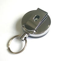 metallclips für gürtel großhandel-Retractable Metal Card Badge Holder Stahl Recoil Ring Gürtelclip Pull Schlüsselanhänger 1OPG Suche Pop Metallschnalle