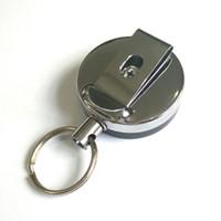 anel chaveiro retrátil venda por atacado-Titular Emblema do Cartão de Metal retrátil de Aço Recoil Anel Belt Clipe Puxar Chaveiro 1OPG Pesquisa Pop fivela de metal