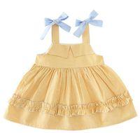Wholesale Girls Cotton Candy Dress - New Girl dress candy color girls Kids dress 100% Cotton plaid print bowknot suspender dress causal summer Kids Clothing