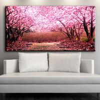ingrosso bella tela di canapa-Moderna arte decorativa su tela bella Cherry blossoms fiore su tela immagini olio arte pittura per soggiorno camera da letto arte No incorniciato