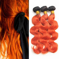 Wholesale Orange Hair Extensions - 8A Brazilian Orange Ombre Virgin Hair 3 Bundles Black Roots 1B Orange Two Tone Body Wave Ombre Human Hair Weaves Extensions 300G Lot