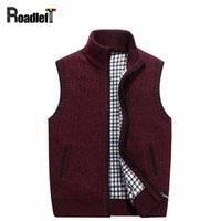 Wholesale Cardigan Sweater Vest Men - Wholesale-Men Autumn Winter Thicken Warm Cashmere Cardigan Vest Men's Casual Knit Sweater Coat Men Sleeveless Jacket Waistcoat Sweaters