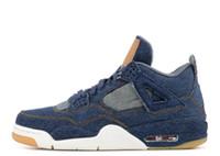 nuevos jeans mujer negro al por mayor-Con los zapatos de mezclilla OG Box Classic 4 zapatillas de baloncesto 2018 nuevos LS jeans azul negro 4s lvs zapatillas de deporte para hombre Zapatillas deportivas