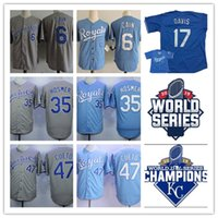Wholesale cool boys shorts - Mens #6 Lorenzo Cain #35 Eric Hosmer baseball Jersey #17 Wade Davis #47 Johnny Cueto cool base Jerseys S-3XL