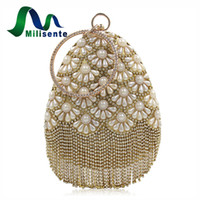 Wholesale Satin Pearl Bags - Milisente Women Fashion Designer Pearl Party Evening Clutch Bag Purse Shoulder Handbag With Shinning Tassel Style Rhinestones