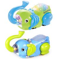 ingrosso luce elefante del bambino-Giocattolo elettrico del bambino del fumetto Evert Elephant Ruota universale per bambini Giocattoli leggeri Bambini Early Education Puzzle Toy Regalo di compleanno