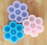 детская форма оптовых-DIY Дети Еда коробки силиконовые торт плесень контейнер для хранения морозильник лоток с крышкой 7 отверстия яичные укусы плесень кухня выпечки инструмент 11 5yc C