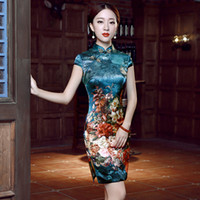 qipao cheongsam verde al por mayor-2018 verano verde cheongsam vestido diseñador chino tradicional vestido de terciopelo qipao vestidos casuales satén moderno qipao
