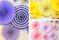 Wholesale birthday wallpaper resale online - Wedding background wallpaper fan suit decoration wedding birthday party creative paper flower fan