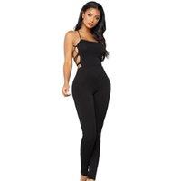 ingrosso tuta nera di backless-2018 Donne Sexy Tute lunghe Nero Backless Lace Up Spaghetti Strap Long Pants Playsuit Lady Pagliaccetti Tuta