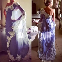 Wholesale party dress elegant muslim resale online - 2019 Elegant One Shoulder Egypt Moroccan Kaftan Evening Dresses Abaya Dubai Muslim Formal Party Gowns With Lace Appliques