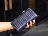 erkek cüzdan boyutu toptan satış-Erkekler Kadınlar Tasarımcı Marka Cüzdan Uzun Stil Örgü Siyah Hakiki Deri Fermuar Orijinal Paketi ile Kredi Kartı Sahipleri Boyutu 19 * 10 * 2.5 cm