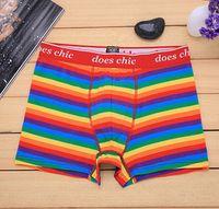 Wholesale manufacturers underwear - New Style Underwear Striped Boxer Rainbow Color Stripe Cotton Fashion Brand Men's Boxers Wholesale Manufacturers Sexy Underpants