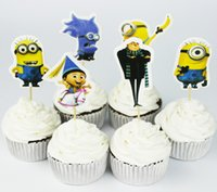 Wholesale despicable birthday - 24pcs Despicable Me Gru minion Cupcake Topper Picks,birthday wedding party decorations,kids evnent party favors,Party decoration