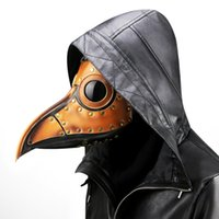 cuero largo cosplay al por mayor-Plague Doctor Masks Beak Doctor Mask Nariz larga Cosplay Fancy Masks Gothic Retro Rock Leather Máscara de pico de Halloween