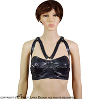 e4131b78dd Black Sexy Latex Bra With Rivets Buttons At Back D Ring Rubber Bras Lingerie  Brassieres BRA-0012