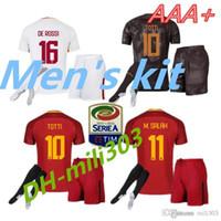Wholesale drawstring top - Top Thai quality 2017 2018 ROMES soccer jersey Men's kits+sock 17 18 TOTTI DE ROSSI DZEKO EL SHAARAWY ROME home away football jersey ki