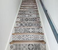 ingrosso scala bianca nera-Adesivi per scale d'epoca Carta da parati Modello geometrico Adesivo per scale autoadesivo Adesivi impermeabili in bianco e nero arredamento d'interni vintage
