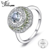 Wholesale Peridot 925 Ring - JewelryPalace Round 1.4ct Natural Green Amethysts Peridot Halo Ring 925 Sterling Silver Fine Jewelry Anniversary Rings For Women