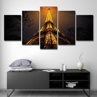 Wholesale night view painting resale online - 5PCS Wall Art Canvas HD Prints Painting Framework Poster Piece Looking Up To The Top Of Eiffel Tower Night View Pictures Home Decor