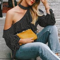 hohe kragen schwarze spitze oben großhandel-Gold Hände neue RüschenLantern Ärmel Chiffon Bluse Sexy Sommer Bogen Frauen Blusen 2018 eine Schulter Polka Dot Bluse Shirt Retro
