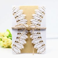 wholesale chinese new year card print for sale laser cut feather invitation envelop with hemp
