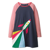 Wholesale cartoon chinese dresses - Girls Cotton Longsleeve Casual Dresses Striped Baby Clothing Unicorn Appliqued Girl Party Dress Cartoon Printed Children Clothing