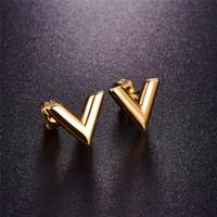 золотые треугольные шпильки оптовых-316L серьги из нержавеющей стали для женщин розовое золото цвет бренда V письмо треугольник симпатичные серьги ювелирные изделия подарок