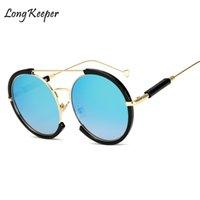 için menteşeler toptan satış-Uzun Kaleci Kadın Güneş Gözlüğü Yarı Çerçevesiz Çerçeve Metal Menteşeler Yuvarlak Ayna Güneş Gözlükleri Kadın Mavi Marka Tasarımcısı UV400 AM8002