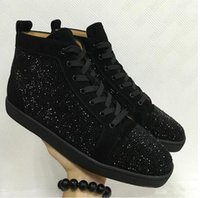Wholesale clear offer - Special Offer 2018 Suede & Black Rhinestone Strass Red Bottom Shoes Men Women's Flat Red Sole Shoes High-Top Sneaker Lace-up Casual Shoes