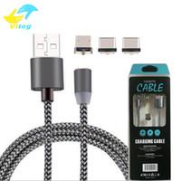 câble usb pour smartphone achat en gros de-3 en 1 360 câble de câble USB micro magnétique magnétique Sync chargeant des câbles de chargeur de charge pour Android Type-c Smartphone avec paquet de vente au détail
